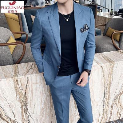 富貴鳥(FUGUINIAO)2020春夏季男裝新款男士西服套裝 英倫修身西裝兩件套 青年西服