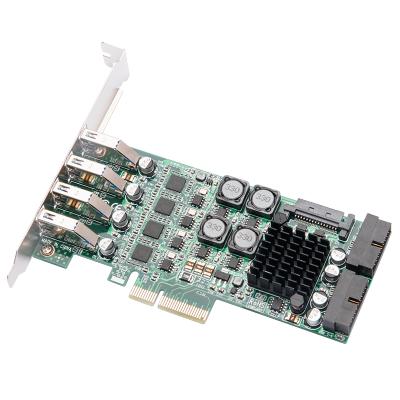 魔羯(MOGE)MC2027 PCIEx4轉8口USB3.0四口獨立通道擴展卡 工業相機20Gbps高速傳輸