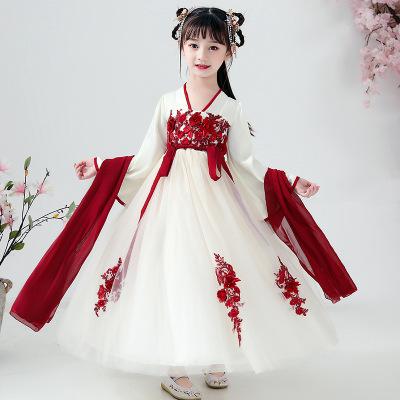 中國風女童超仙齊胸漢服兒童古風襦裙唐裝小女孩公主漢服連衣裙春