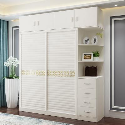 简约现代衣柜实木整体经济型推拉移门板式卧室柜子定制收纳储物柜 长1.6+边柜+顶柜【总长2米】