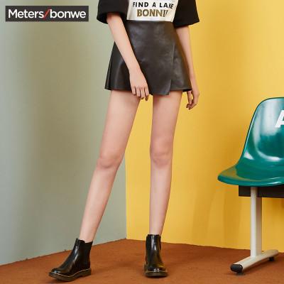【1件3折价:25.8】美特斯邦威裙子女夏季PU皮显瘦潮韩风短裙