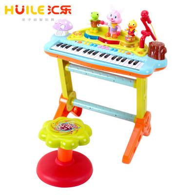 匯樂玩具(HUILE TOYS)多功能趣味演奏組合電子琴 669 寶寶益智玩具電子琴/帶麥克風琴兒童電子鋼琴 電源/電池