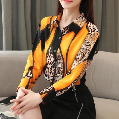 晨古傳奇雪紡襯衫女長袖2020春裝新款韓版寬松小衫洋氣百搭遮肚打底衫女潮