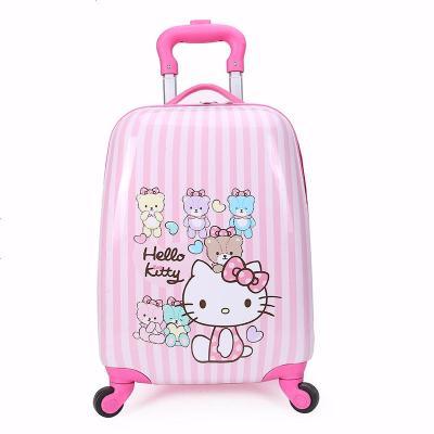 景榮兒童拉桿箱男女孩卡通旅行箱定制16寸18寸小學生寶寶行李箱萬向輪 豎條貓18寸