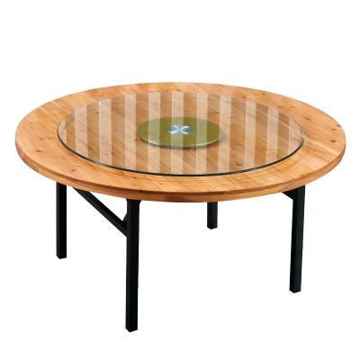 鑫金虎 酒店圆桌餐厅圆桌带转盘可折叠餐桌家用餐桌实木杉木折叠圆台可定制