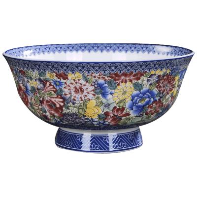 景德镇陶瓷碗单个高脚防烫大面碗6英寸碗碟套装家用汤碗仿古寿碗