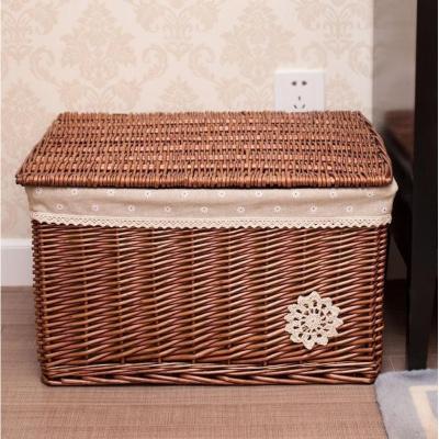 蓋抽屜式家用藤編筐框子竹編衣箱蓋子盒編收納田園帶院收納弧威
