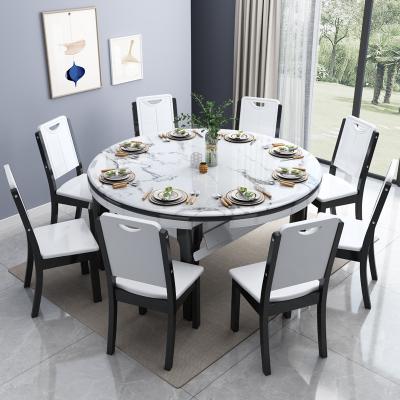 尋木匠實木大理石餐桌家用小戶型餐桌椅組合現代簡約伸縮折疊玻鋼石餐桌
