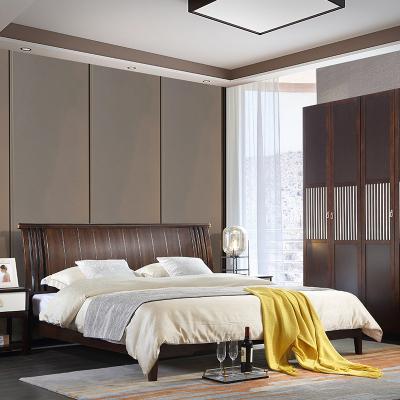 A家家具 床 現代中式新中式雙人床單人床實木床頭架子1.5米1.8米床古韻時尚現代簡約臥室家具春曉系列木質 G003