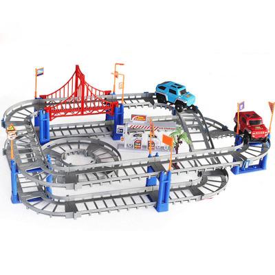 童勵TongLi 百變軌道車73件套灰色軌道配一個小車 拼裝 電動 3-6歲益智玩具 兒童玩具 充電否 不含遙控器