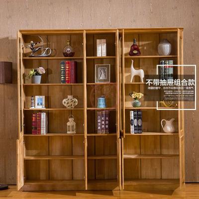 杞沐橡胶木书柜书架组合简约现代储物柜实木书柜带玻璃书橱带家用