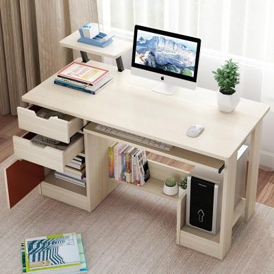 眾淘家居簡約現代電腦桌臺式桌簡易辦公桌學生學習桌臥室書桌書架組合家用小桌子