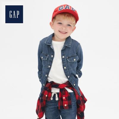 Gap男幼童長袖牛仔襯衫春496465 小童上衣兒童帥氣襯衣潮流