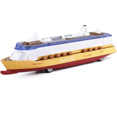 大型游轮模型轮船邮轮合金玩具船声光回力远洋客船儿童玩具 黄色