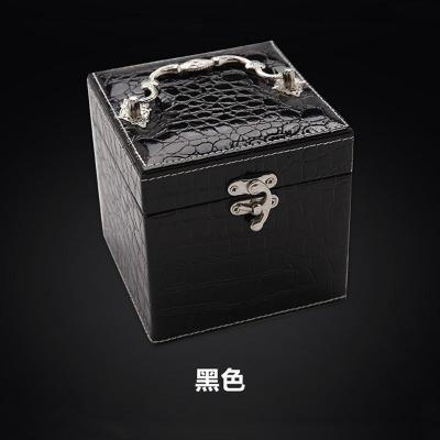 手提鳄鱼纹皮革首饰盒 三层小饰品盒 生日礼物珠宝收纳首饰盒 黑色