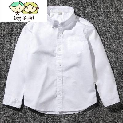 2018春秋季新款中大童男童装长袖衬衫儿童白色衬衣表演服寸衫  喻娄