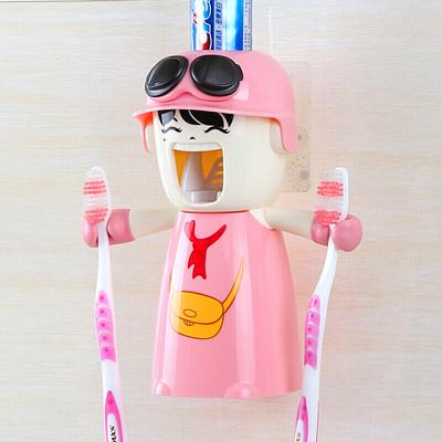 哈雷少女洗漱套裝吸盤自動擠牙膏器磁吸式刷牙杯漱口杯牙刷架