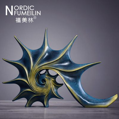 美式酒柜裝飾品擺件歐式家居客廳創意抽象藝術品電視柜海螺擺設