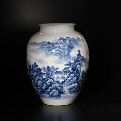 景德鎮臺面裝飾花瓶青花花瓶書畫存放花瓶山水花瓶擺件江南山水瓶
