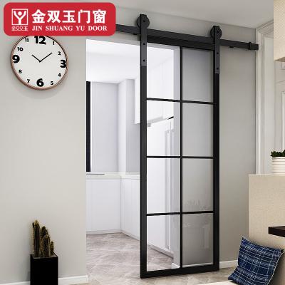 金雙玉 玻璃室內谷倉門鈦美鋁合金4.5公分窄黑邊框廚房衛生間推拉移門防水