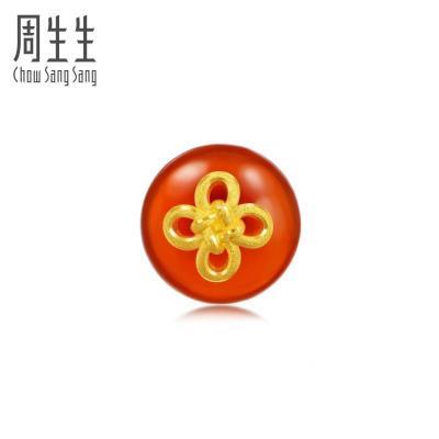 周生生(CHOW SANG SANG)黃金足金吉祥如意結瑪瑙單只耳釘89894E