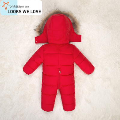 冬季儿童连体羽绒服婴儿哈衣男童女童爬服宝宝貉子毛领外出服加厚
