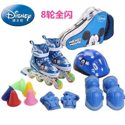 DISNEY/迪士尼溜冰鞋儿童八轮全闪光轮滑鞋套装可调旱冰鞋