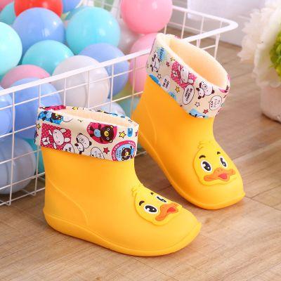 時尚雨鞋中大童保暖加棉防滑水鞋寶寶雨靴男女可愛卡通保暖