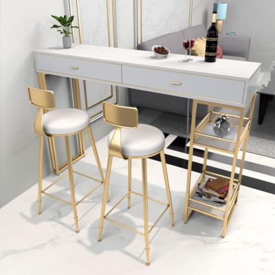 尋木匠大理石吧臺抽屜柜家用北歐巖板一體靠墻高腳桌椅組合客廳長條餐桌