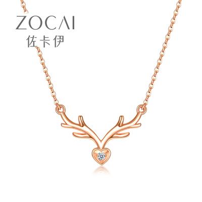佐卡伊 一鹿有你 18k玫瑰金鉆石項鏈女彩金鎖骨鏈鹿角項鏈禮物