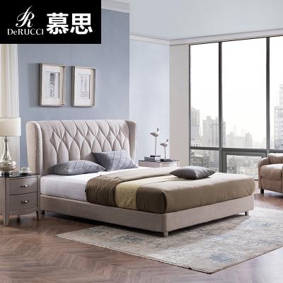 【慕思布藝床】慕思床 歐式簡約小戶型主臥布藝床1.5m 可拆洗雙人床1.8米 凡爾賽