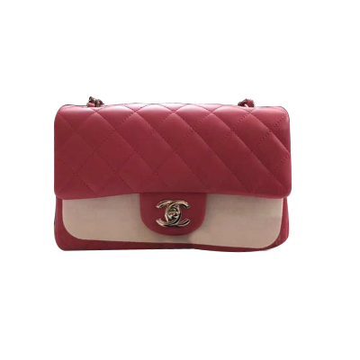 【正品二手99新】香奈兒 Chanel 女包 羊皮 玫紅色大mini 手提單肩斜挎包 奢侈品20*24