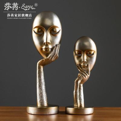思考者小擺件女人臉面具塑北歐風擺件玄關酒柜人物藝術品工藝品