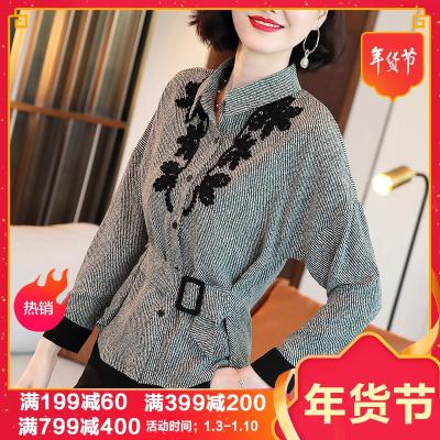 【预售年后发货】条纹雪纺衬衫女装秋季2020新款复古港味POLO领盘花修身上衣长袖衬衣