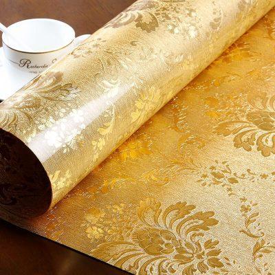 美幫匯金色拉絲質感印花長方形圓形家用軟玻璃餐桌茶幾電視柜墊桌布防水