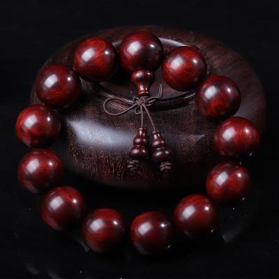 今夕 印度小葉紫檀木手串高油密玻璃底18mm13顆民族風佛珠飾品男士文玩時尚手鏈木質