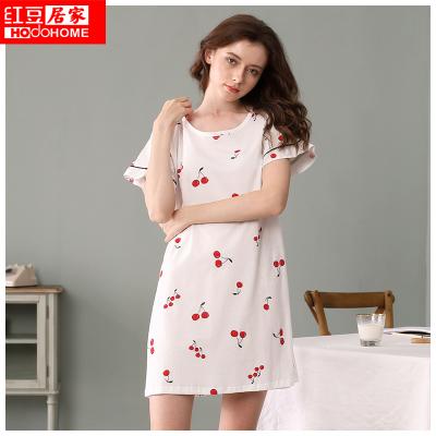 红豆居家Hodohome女式纯棉睡裙春夏小樱桃水果短袖甜美可爱睡裙