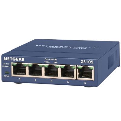 美国网件(NETGEAR)GS105 5口千兆非网管交换机 小型办公家用宿舍网络分线器以太网交换机