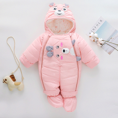 兒冬季羽絨棉連體衣嬰兒加厚外出服棉衣套裝寶寶包腳保暖抱被