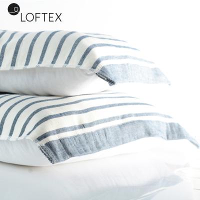 亞光(loftex)純棉毛巾枕巾 柔軟吸水AB版紗布款枕頭巾 條紋加大單人枕巾50*80cm 2條裝