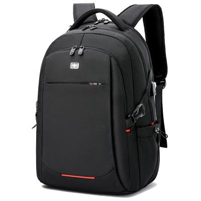 送刀鎖+防盜背袋+拉桿插袋+USB接口!黑色勛章系列雙肩包男士背包16英寸大容量休閑商務旅行包電腦包女韓版學生書包