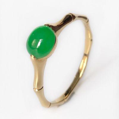 緣源天然A貨冰種翡翠辣綠隨形陽綠蛋面鑲嵌18K金竹節翡翠戒指女