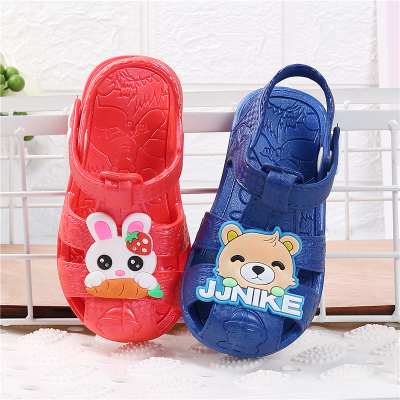 防尿塑料嬰兒童包頭涼鞋男女童防滑軟底學步鞋寶寶鞋子0-3歲夏季