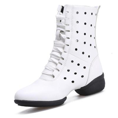 因樂思(YINLESI)舞蹈鞋皮廣場舞靴水兵舞鏤空真女舞蹈靴子中筒跳舞鞋