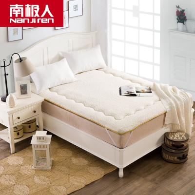 南极人(NanJiren) 家纺 羊羔绒纤维纯色床垫 单双人可折叠绑带防滑学生床褥 宿舍垫子四季简约风