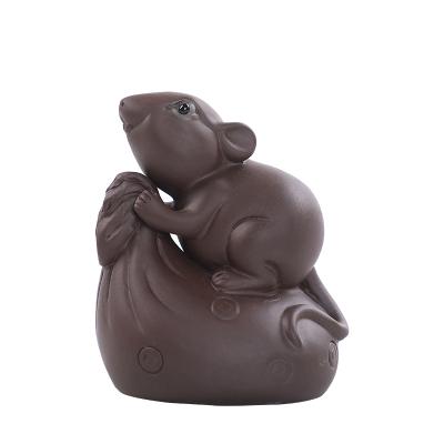 古德窑 紫砂茶宠摆件钱袋老鼠茶宠茶玩手工精品茶盘小玩意功夫茶具配件