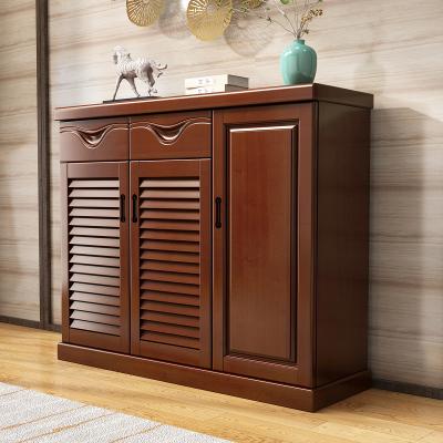 和樂家園 特價大容量實木鞋柜現代中式簡約客廳組裝對開23門木質門廳柜