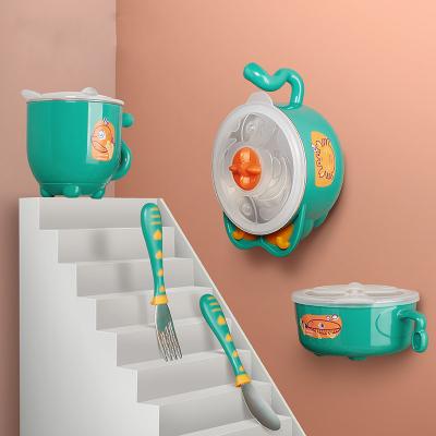 babycare兒童餐具 寶寶注水保溫碗吸盤碗兒童碗勺套裝 嬰兒輔食碗 雀湖綠 2091