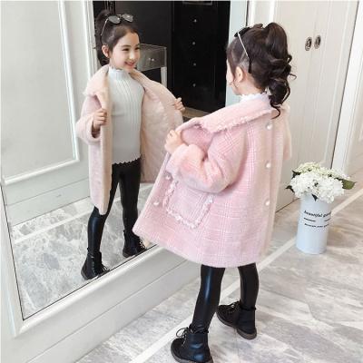 女童外套冬裝2019秋冬新款加厚呢子兒童毛呢仿水貂絨洋氣呢大衣個性威