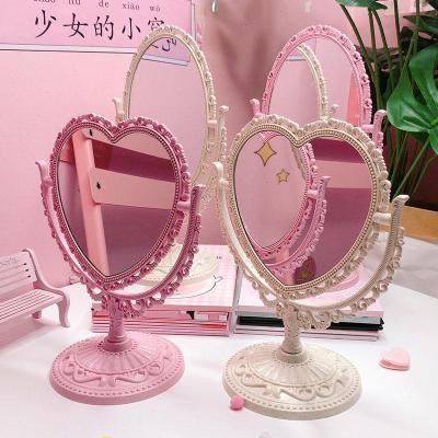 復古宮廷風愛心桌面臺式雙面化妝鏡少女粉色心形旋轉可愛公主鏡子